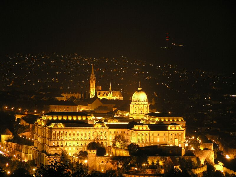 Buda Castle lt up at night, Budapest