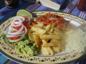 A plate of mojarra in Lake Atitlan Guatemala
