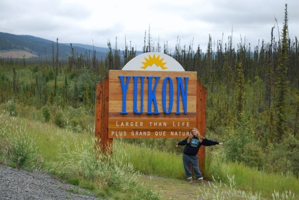 Welcome sign to the Yukon territory Canada