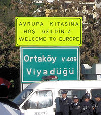 welcome to Europe sign in Istanbul Turkey