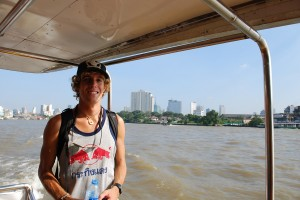 The Vagabond on the Chao Phraya River Ferry in Bangkok Thailand