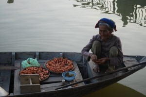Floating market in Hoi An Vietnam