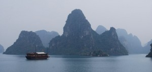 Traditional junk in Halong Bay